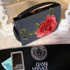 Auth Versace Ultra Rare Vintage Rose Denim Satchel